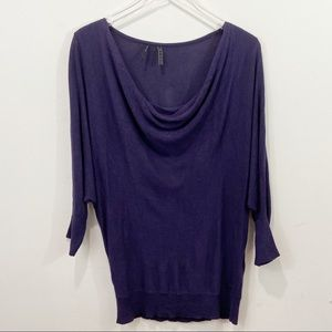 GUESS Purple Cowl Neck Long Sleeve Top